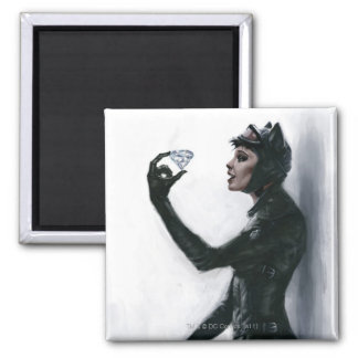 Catwoman Illustration 2 Inch Square Magnet