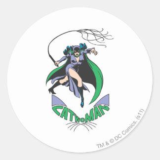 Catwoman & Logo Green Classic Round Sticker