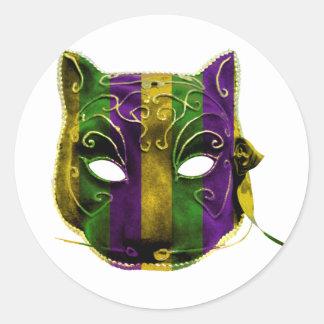 Catwoman Mardi Gras Mask Classic Round Sticker