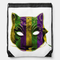 Catwoman Mardi Gras Mask Drawstring Backpack