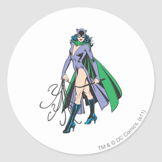 Catwoman Stands Classic Round Sticker