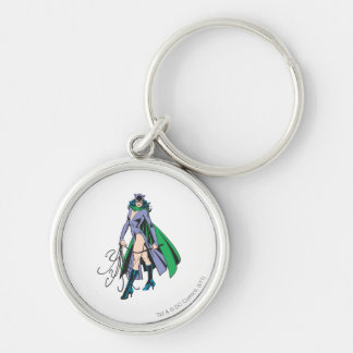 Catwoman Stands Silver-Colored Round Keychain