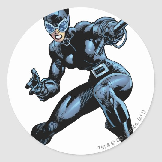 Catwoman with Whip Classic Round Sticker