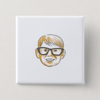 Caucasian Boy Glasses Head Smiling Drawing Button