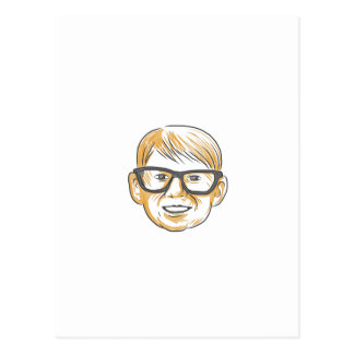 Caucasian Boy Glasses Head Smiling Drawing Postcard