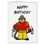 Caucasian Cartoon Fireman  Card   Customize It!