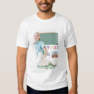 Caucasian girl standing with model volcano shirt