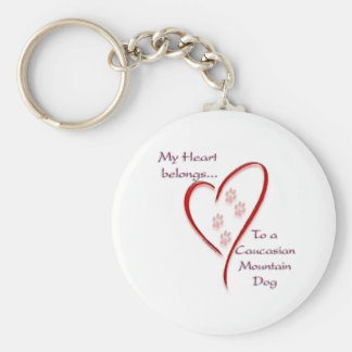 Caucasian Mountain Dog Heart Belongs Basic Round Button Keychain