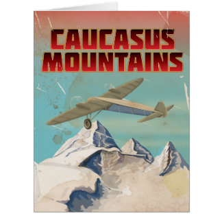 Caucasus mountains vintage travel poster card