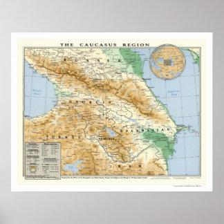 Caucasus Region Map 1994 Poster