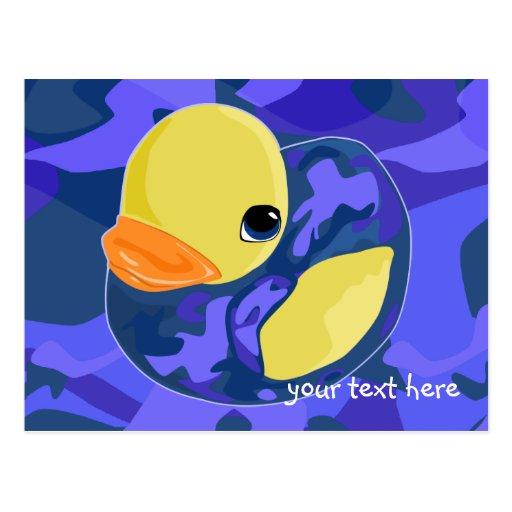 Caucho azul de Camo Ducky Postales