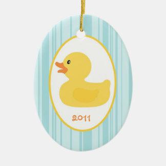 Caucho de encargo personalizado del ornamento adorno navideño ovalado de cerámica