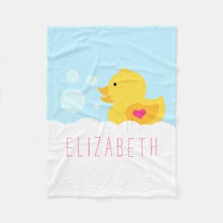 Caucho rosado del corazón Ducky Manta De Forro Polar