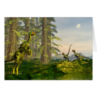 Caudipteryx and dilong dinosaurs - 3D render Card