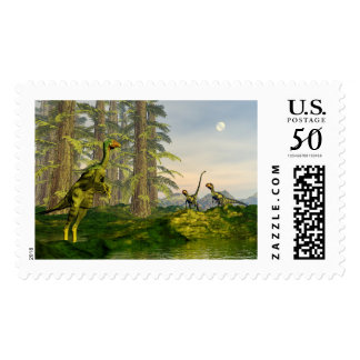 Caudipteryx and dilong dinosaurs - 3D render Postage