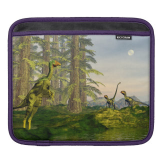Caudipteryx and dilong dinosaurs - 3D render Sleeve For iPads