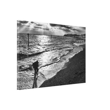 Caught by the Surf on Felixstowe Beach Canvas Print