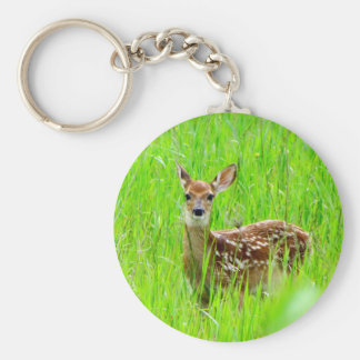 Caught in a stare down basic round button keychain