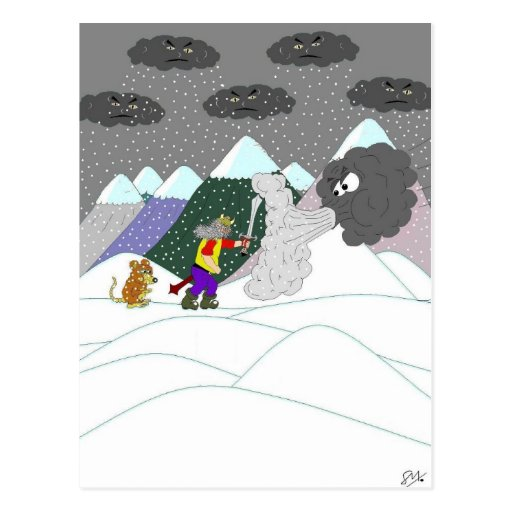 Caught in the blizzard postcard