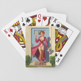 Caught in the Door Pin Up Art Playing Cards