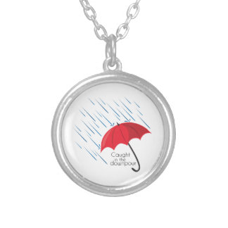 Caught In The Downpour Round Pendant Necklace