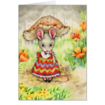 Caught in the Rain - Cute Mouse Art Card