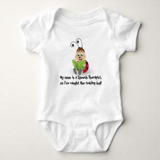 Caught the reading bug mom Speech Therapist baby T-shirt
