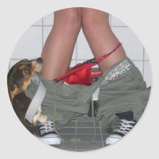 Caught with My Pants Down Again, Cute Puppy Dog Classic Round Sticker