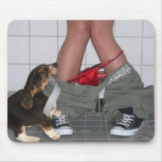 Caught with my pants down...Cute Puppy Dog Play Mouse Pad