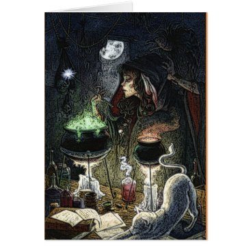 Halloween Themed Cauldron Bubbling Witch Halloween Card