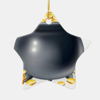 Cauldron full of gold coins ceramic ornament
