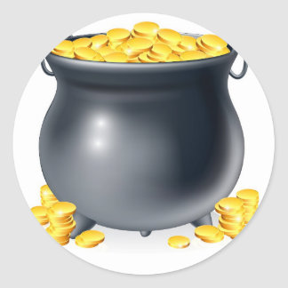 Cauldron full of gold coins classic round sticker