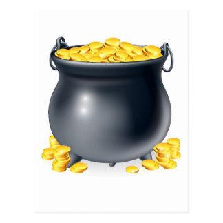 Cauldron full of gold coins postcard