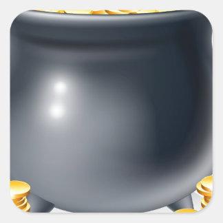 Cauldron full of gold coins square sticker