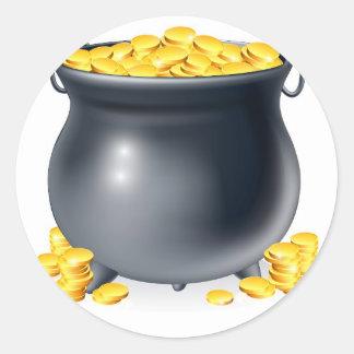 Cauldron full of gold coins round sticker