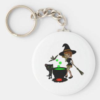 Cauldron Witch Basic Round Button Keychain