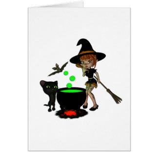 Cauldron Witch Greeting Card