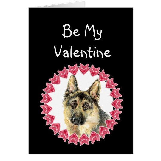 Cause I Woof Love You German Shepherd Valentine Card