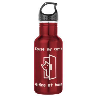 'Cause my cat is waiting at home. (Eng-White) Stainless Steel Water Bottle