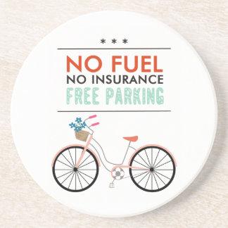 CAUSES GO GREEN BICYCLING BENEFITS NO FUEL INSURAN BEVERAGE COASTER