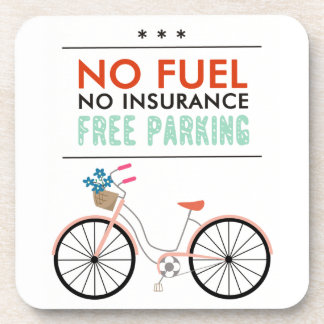 CAUSES GO GREEN BICYCLING BENEFITS NO FUEL INSURAN BEVERAGE COASTERS