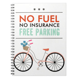CAUSES GO GREEN BICYCLING BENEFITS NO FUEL INSURAN NOTEBOOK