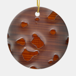 Caustic Metal On Wood Ceramic Ornament
