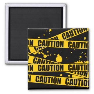 Caution! 2 Inch Square Magnet