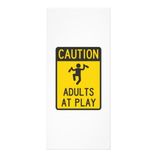 Caution Adults at Play Rack Card