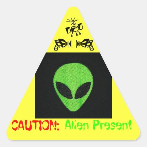 CAUTION: ALIEN PRESENT ROUND STICKER