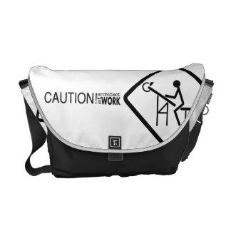 Caution Architect at Work Messenger Bag
