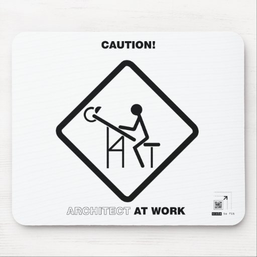 Caution architect at work mouse pad zazzle for Architect at work