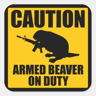 Caution Armed Beaver Square Sticker