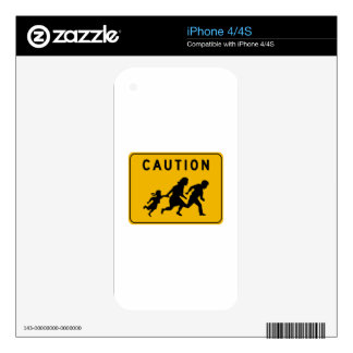 Caution at Crossing, Traffic Warning Sign, USA Skin For iPhone 4S